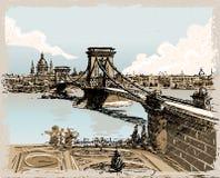Винтажный взгляд моста львов в Будапеште иллюстрация вектора