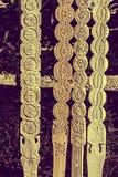 Винтажный взгляд на декоративное высекаенном деревянном Стоковое фото RF