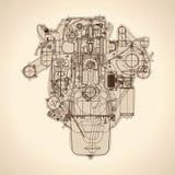 Винтажный двигатель, старое изображение вектор Стоковые Изображения