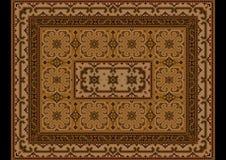 Винтажный восточный ковер с орнаментом коричневых и желтых теней Стоковая Фотография