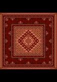 Винтажный восточный ковер с этническим орнаментом в красных тенях Стоковая Фотография