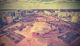 Винтажный горизонт города Brasilia, Бразилии Стоковое Изображение