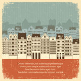 Винтажный городской пейзаж с зданиями. Ретро предпосылка  Стоковое фото RF