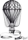 Винтажный горячий воздушный шар с знаменем бесплатная иллюстрация