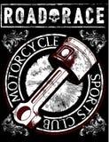 Винтажный график футболки мотоцикла Стоковые Фото