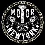 Винтажный график футболки мотоцикла Стоковые Изображения