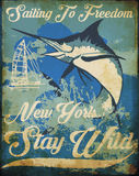 Винтажный графический дизайн тройника плаката плавания иллюстрация штока