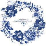 Винтажный дизайн венка с ретро розами цветет график Линия иллюстрация цветка руки леса сказки вычерченная иллюстрация вектора
