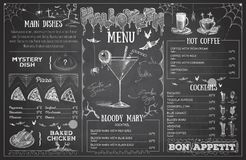 Винтажный дизайн меню хеллоуина чертежа мела томаты крена мяса обеда, котор курят wedding бесплатная иллюстрация