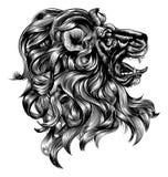 Винтажный лев стиля woodblock иллюстрация вектора
