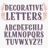 Винтажный декоративный шрифт Стоковое Изображение