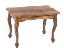Винтажный деревянный стол на белой предпосылке Стоковая Фотография
