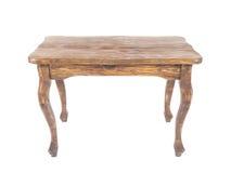 Винтажный деревянный стол на белой предпосылке Стоковые Фото