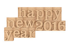 Винтажный деревянный тип блоки печатания с счастливым новым 2016 год Sloga Стоковое Фото