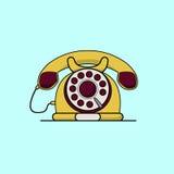 Винтажный желтый телефон Линия иллюстрация вектора искусства плоская Стоковая Фотография RF