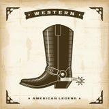 Винтажный западный ботинок ковбоя Стоковая Фотография