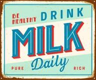 Винтажный знак металла - здоровое молоко питья ежедневное иллюстрация вектора