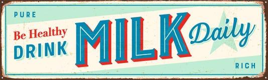 Винтажный знак металла - здоровое молоко питья ежедневное иллюстрация штока