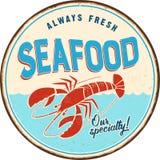 Винтажный знак металла - морепродукты бесплатная иллюстрация