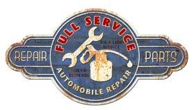 Винтажный знак механиков металла олова стоковые изображения rf