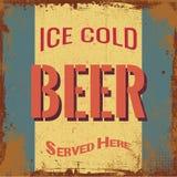 Винтажный знак олова пива Стоковое Изображение RF