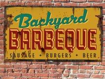 Винтажный знак олова BBQ барбекю Стоковая Фотография
