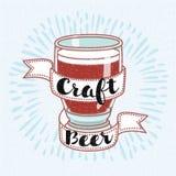 Винтажный знак пива ремесла стиля Стоковое Изображение