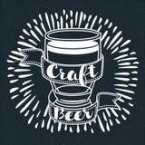 Винтажный знак пива ремесла стиля Стоковая Фотография RF