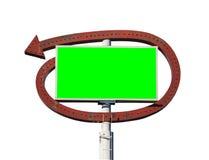 Винтажный знак стрелки с экраном зеленого цвета Chroma Стоковые Изображения