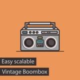 Винтажный значок вектора стиля Boombox плоский Стоковые Фотографии RF