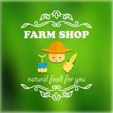 Винтажный значок магазина фермы Стоковая Фотография