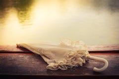 Винтажный зонтик озером Стоковое Фото