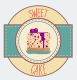 Винтажный дизайн плаката пирожного иллюстрация штока