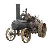 Винтажный изолированный трактор парового двигателя Стоковые Изображения