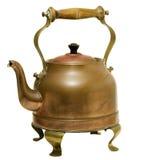 Винтажный изолированный чайник латуни и меди Стоковое Изображение RF