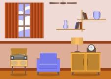 Винтажный интерьер живущей комнаты стиля Стоковые Фото