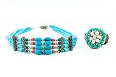 Винтажный или ретро комплект кольца и ожерелья Стоковая Фотография