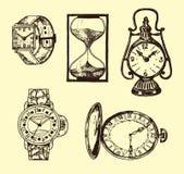 Винтажный классический карманный вахта, будильник, часы и шкала показывая время Старые элементы собрания выгравированная рука иллюстрация штока