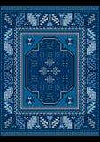 Винтажный ковер с этническим орнаментом в голубых и сизоватых тенях Стоковое Изображение