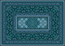 Винтажный ковер с этническим орнаментом в зеленых и голубых тенях Стоковые Изображения