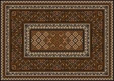 Винтажный ковер с этническим орнаментом в коричневых и бежевых тенях Стоковое Изображение