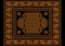 Винтажный ковер с этническим орнаментом в коричневых тенях Стоковые Изображения RF