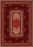 Винтажный ковер с этническим орнаментом в красных и бежевых тенях Стоковые Фото