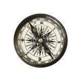 Винтажный компас изолированный на белизне Стоковые Изображения RF