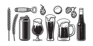 Винтажный комплект пива Ячмень, пшеница, может, стекло, кружка, бутылка, консервооткрыватель, хмель, крышка бутылки также вектор  иллюстрация штока