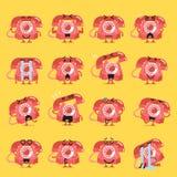Винтажный комплект emoji характера телефона Стоковые Фотографии RF