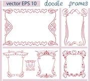 Винтажный комплект вектора рамок Doodle детали Стоковые Фотографии RF