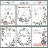 Винтажный комплект карточки при рука рисуя флористическое оформление Стоковое Фото