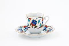 Винтажный комплект кофе при красочное изолированное украшение Стоковые Изображения RF