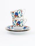 Винтажный комплект кофе при красочное изолированное украшение Стоковые Фото